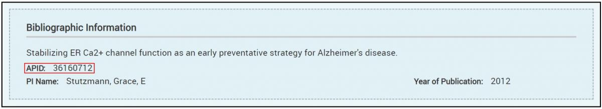 Published Study - APID or AlzPED ID assigned to each study